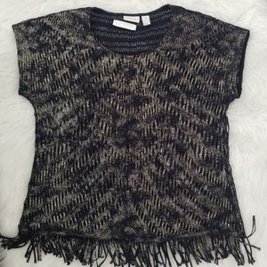 Chico's knit top, fringe bottom.